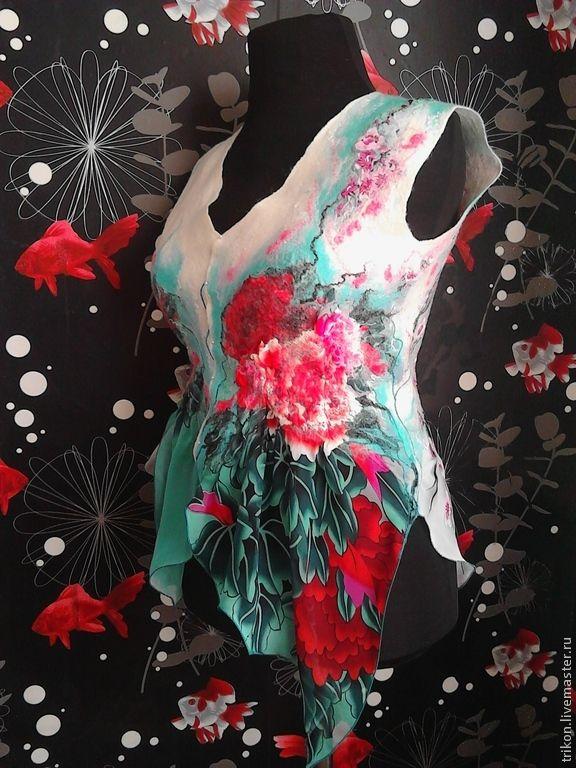 """Купить Жилет """"Райское наслаждение"""" - бирюзовый, рисунок, жилет, туника, оригинальный подарок, одежда для женщин"""