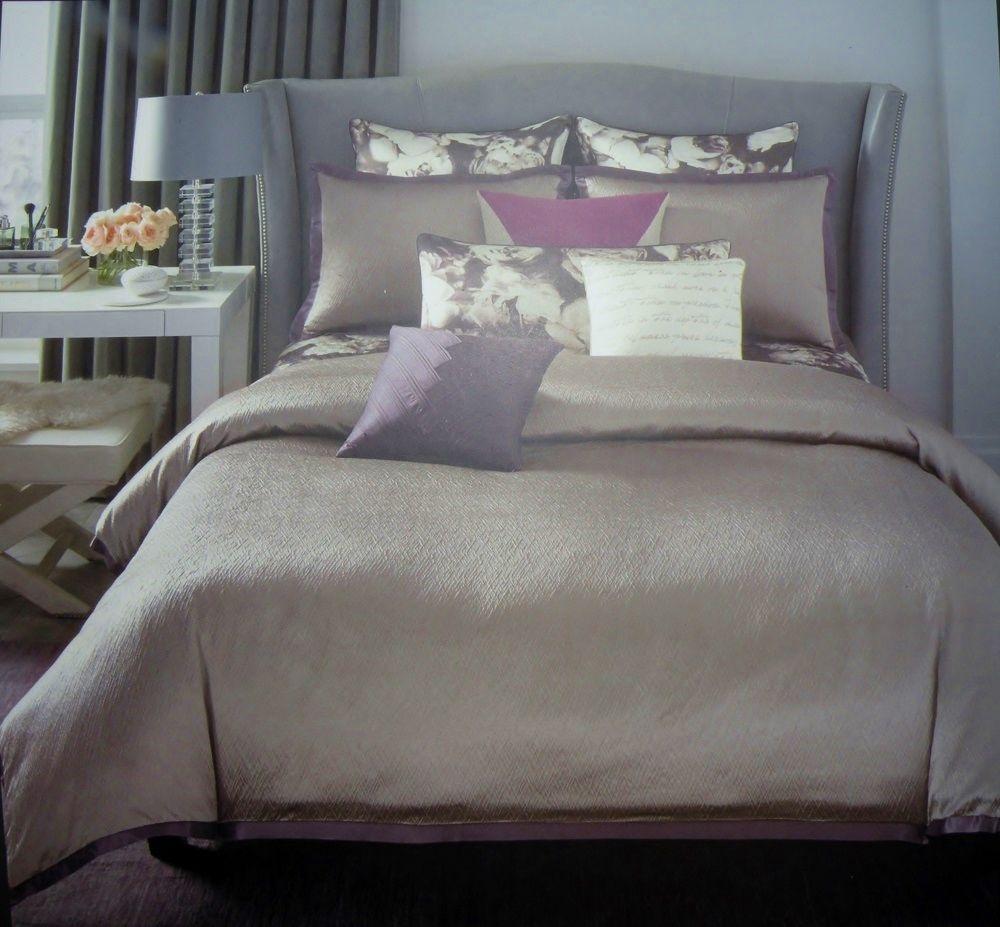NIP Vince Camuto Provence F/Q Mini Comforter Set Silver Gray Lavender Trim