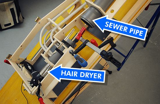 A sewer pipe and a hair dryer make a literally great auto-plunger