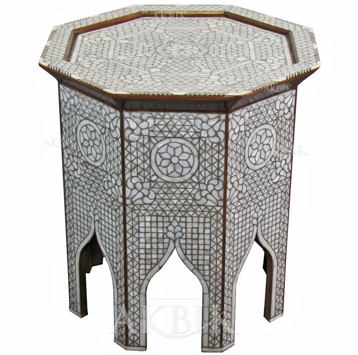 Picture Of Style # 1717   Hand Inlaid Moroccan Style, Syrian Side Table With