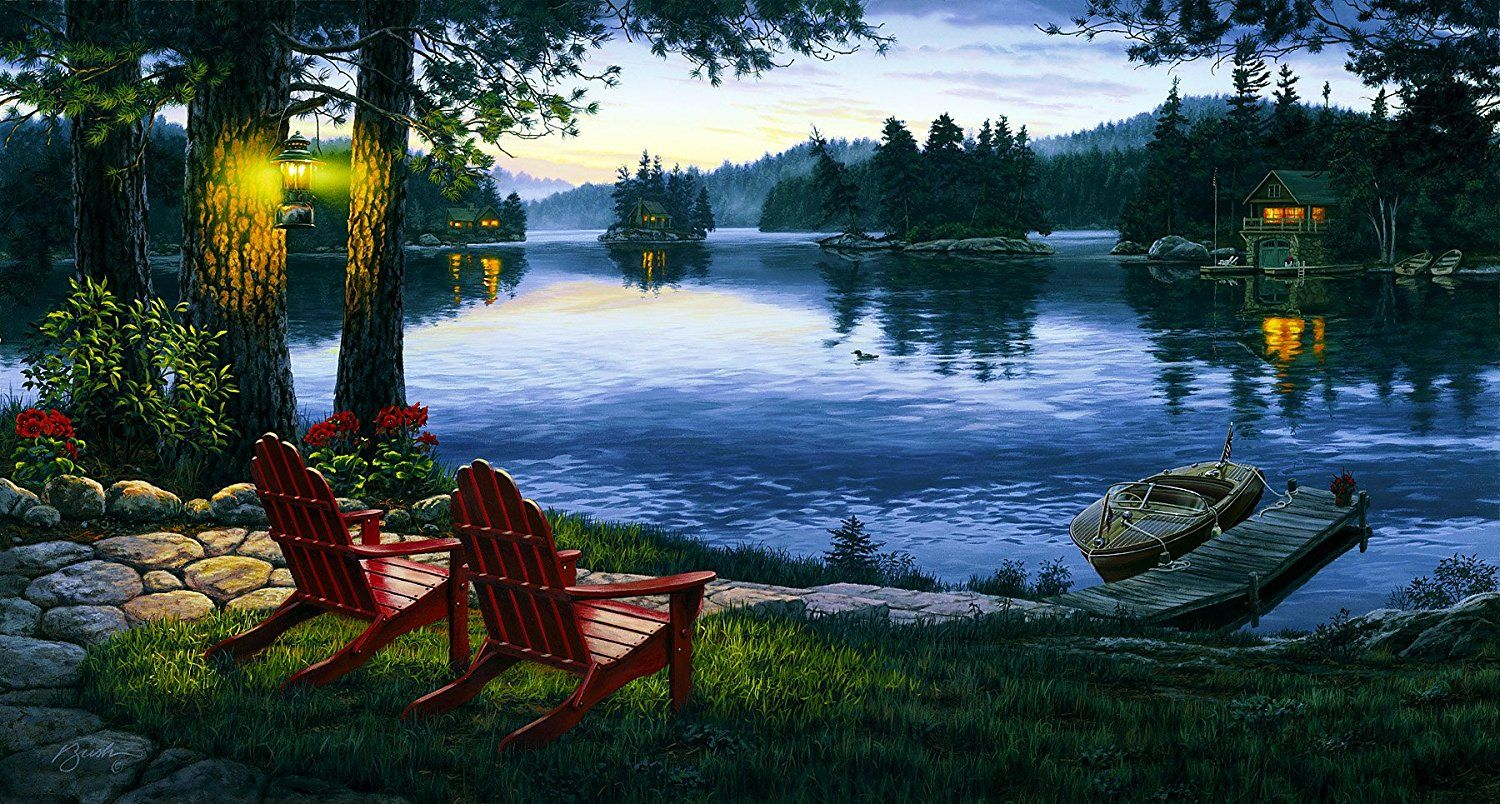 Brewster Northwoods 145 87727 Pre pasted Wall Mural Lake Mural 75