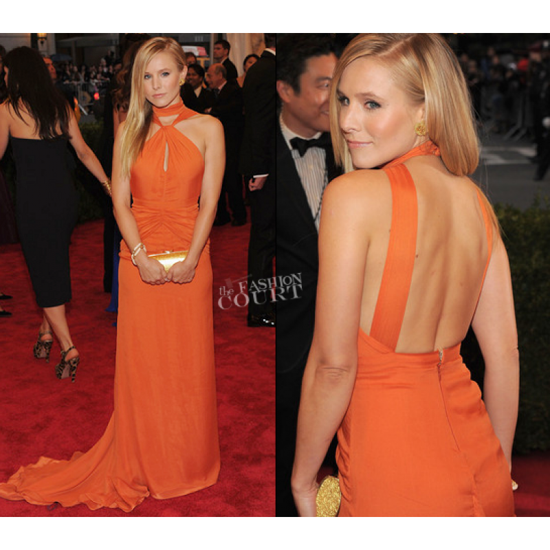 Kristen Bell Orange Custom Prom Dress 2012 Met Ball Red Carpet