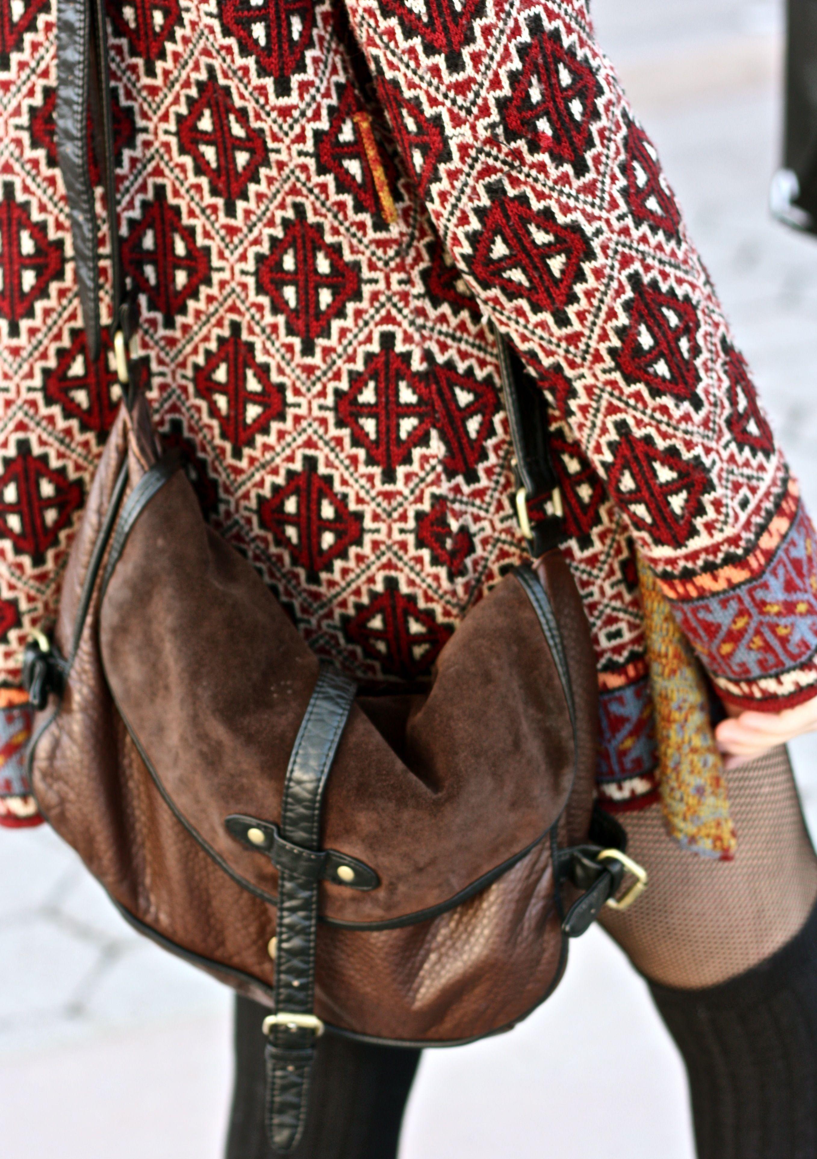 Boho slouch brown/black leather crossbody bag Boho