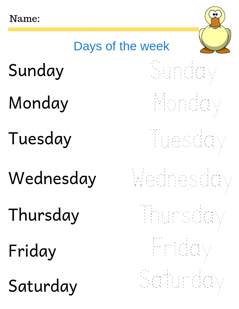 Days Of The Week Free Printables Homeschool Worksheets Homeschool Phonics Kindergarten Writing [ 1056 x 816 Pixel ]