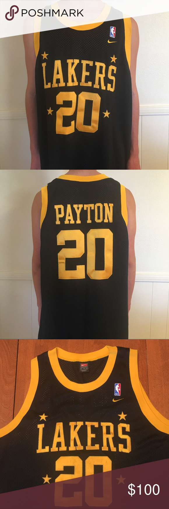 4646c9d978f Gary Payton Lakers Throwback Nike 1957 Jersey Gary Payton Los Angeles Lakers  Black Throwback Nike 1957