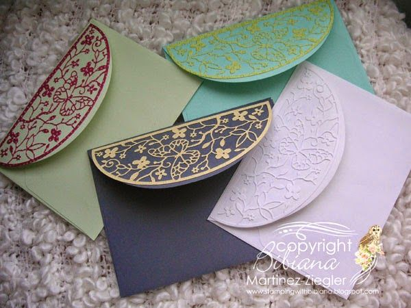 """Stamping with Bibiana: Envelopes 'dressed' with the """"Delicate Butterfly A..."""