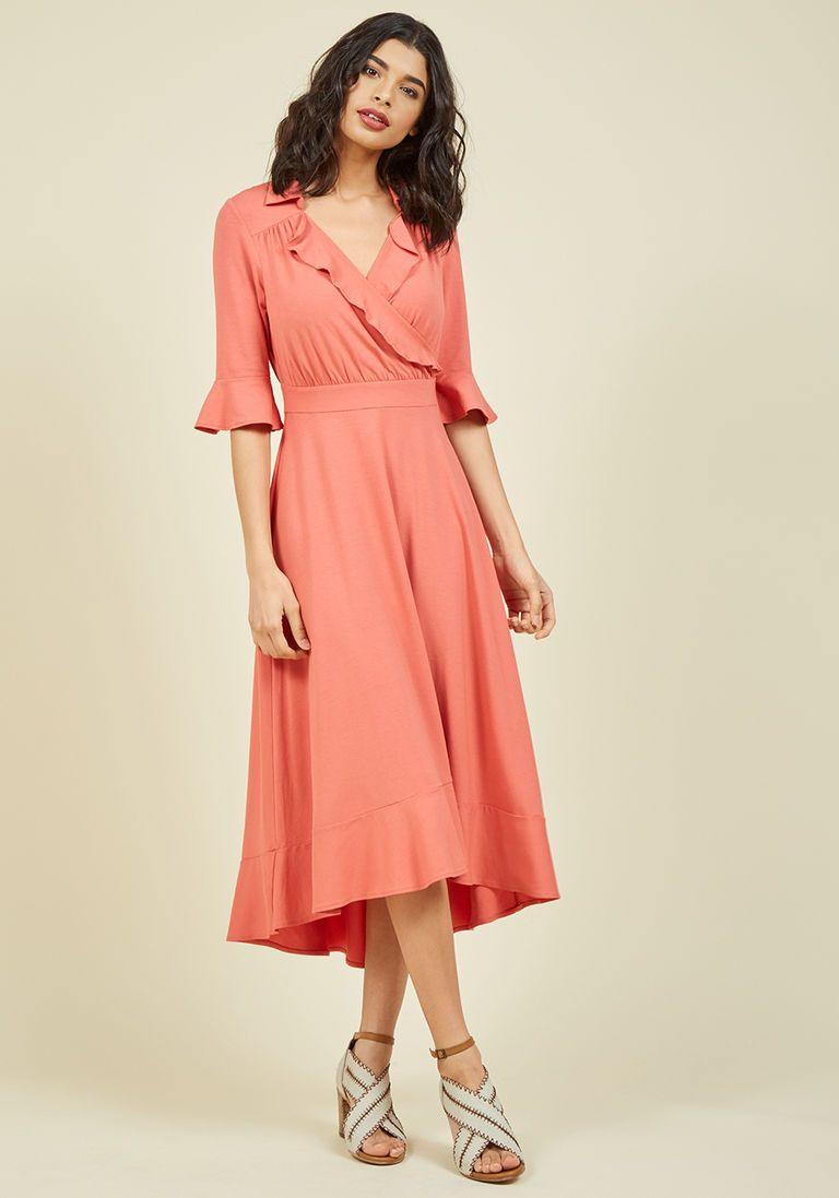 Peach dress for wedding guest  Enchant By Chance Wrap Dress  WalkIn Closet  Frocks  Pinterest