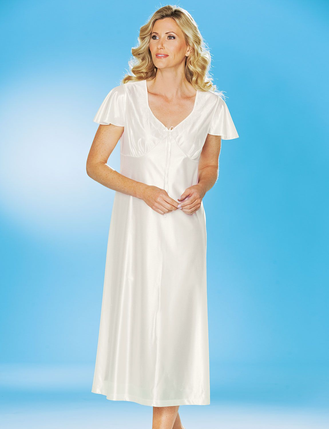 Pack of satin short sleeve nightdresses ladieswear nightwear