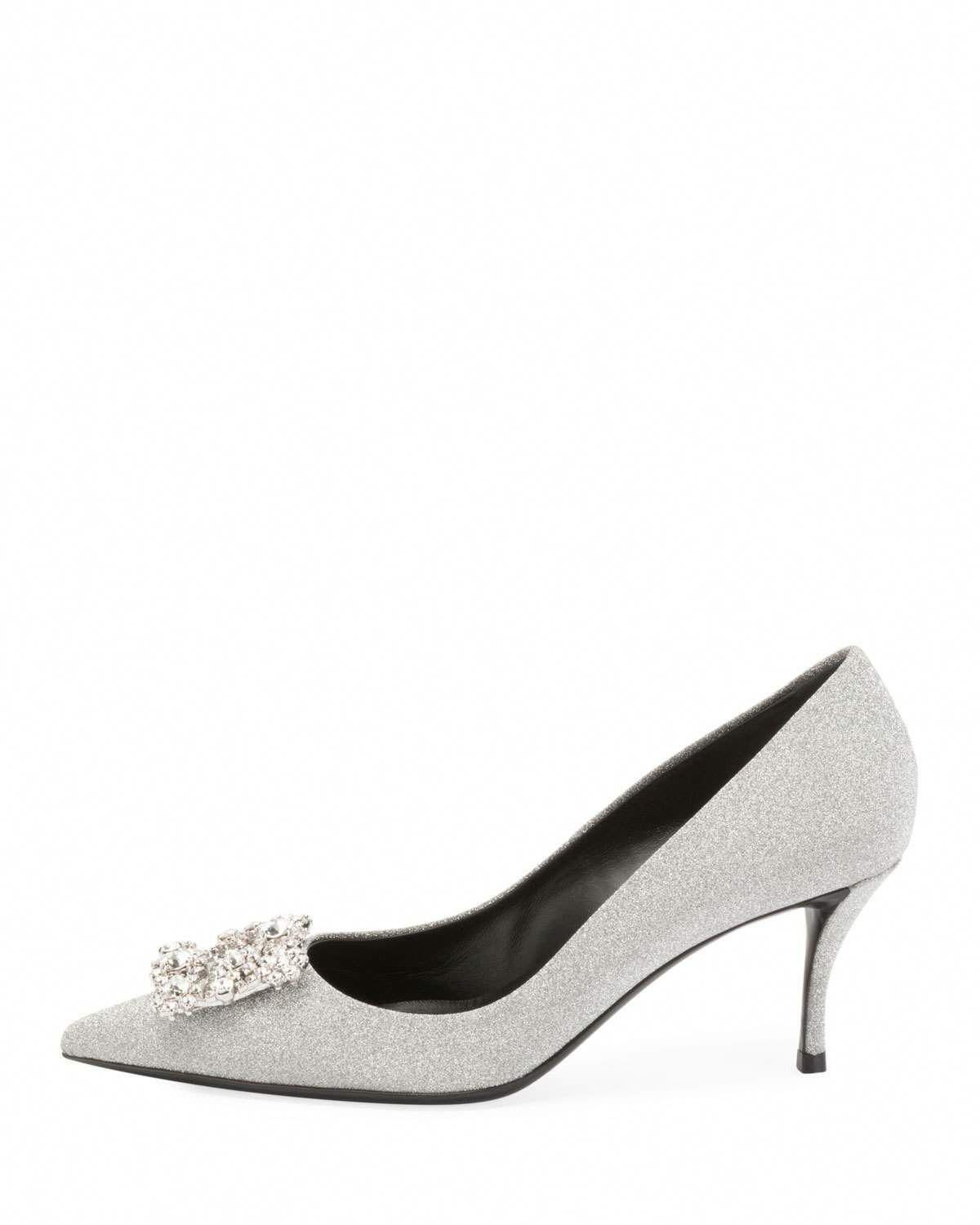 1fcad75b302 Roger Vivier Glitter Fabric Flower-Crystal Buckle Pumps  RogerVivier ...