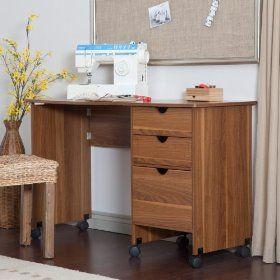 #5: Beldin Mobile Sewing Desk - Walnut Color - Walnut