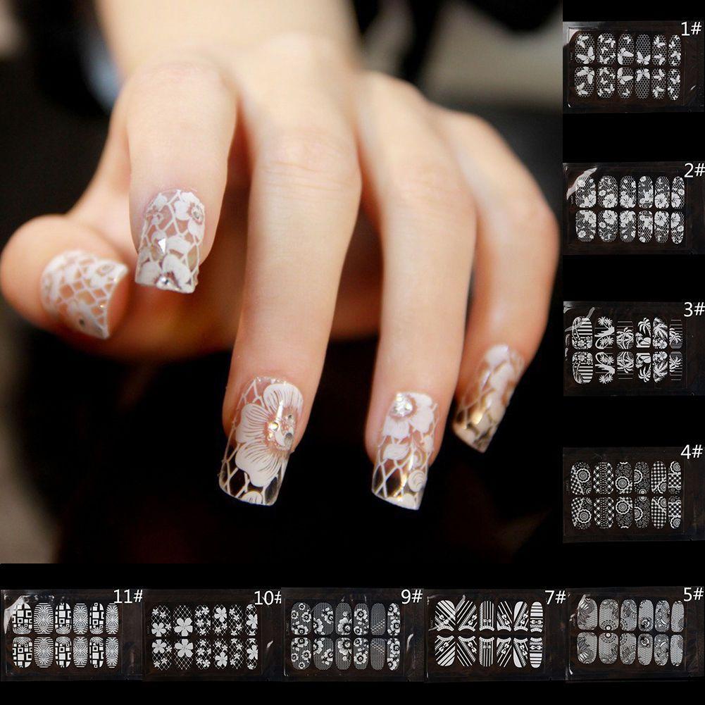 0.99 GBP - 1Set Nail Art Transfer Stickers White Lace Rhinestone ...
