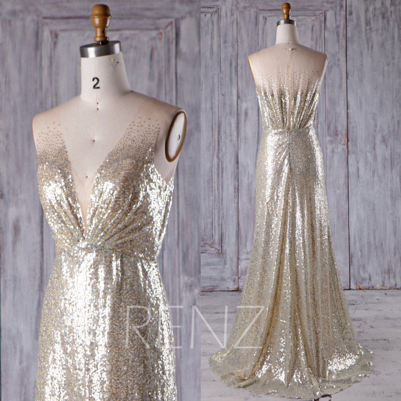 Bridesmaid dress gold silver mix wedding dressdeep v neck party