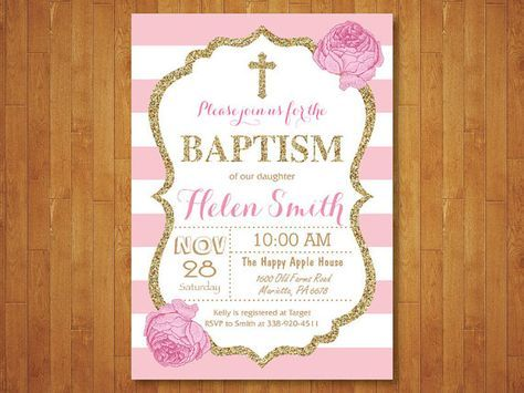 Pink and Gold Baptism Invitation Girl Christening Invitation Child