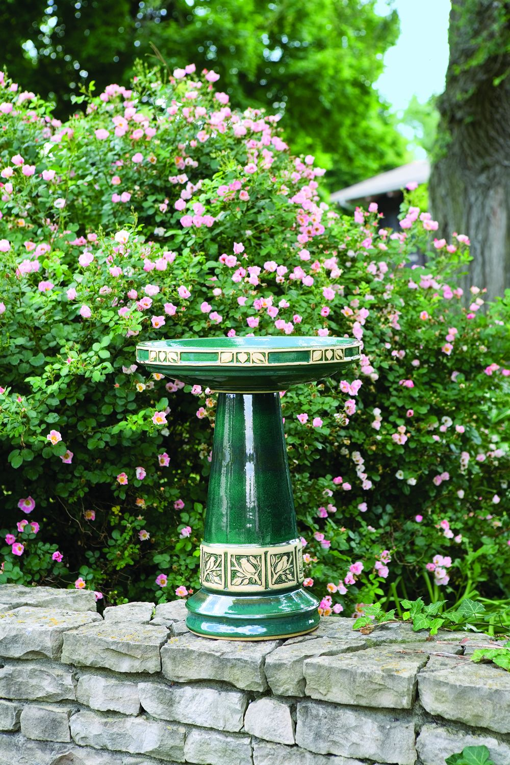 Zanesville Birdbath in Juniper Green handcrafted in Roseville, OH by Burley Clay Products