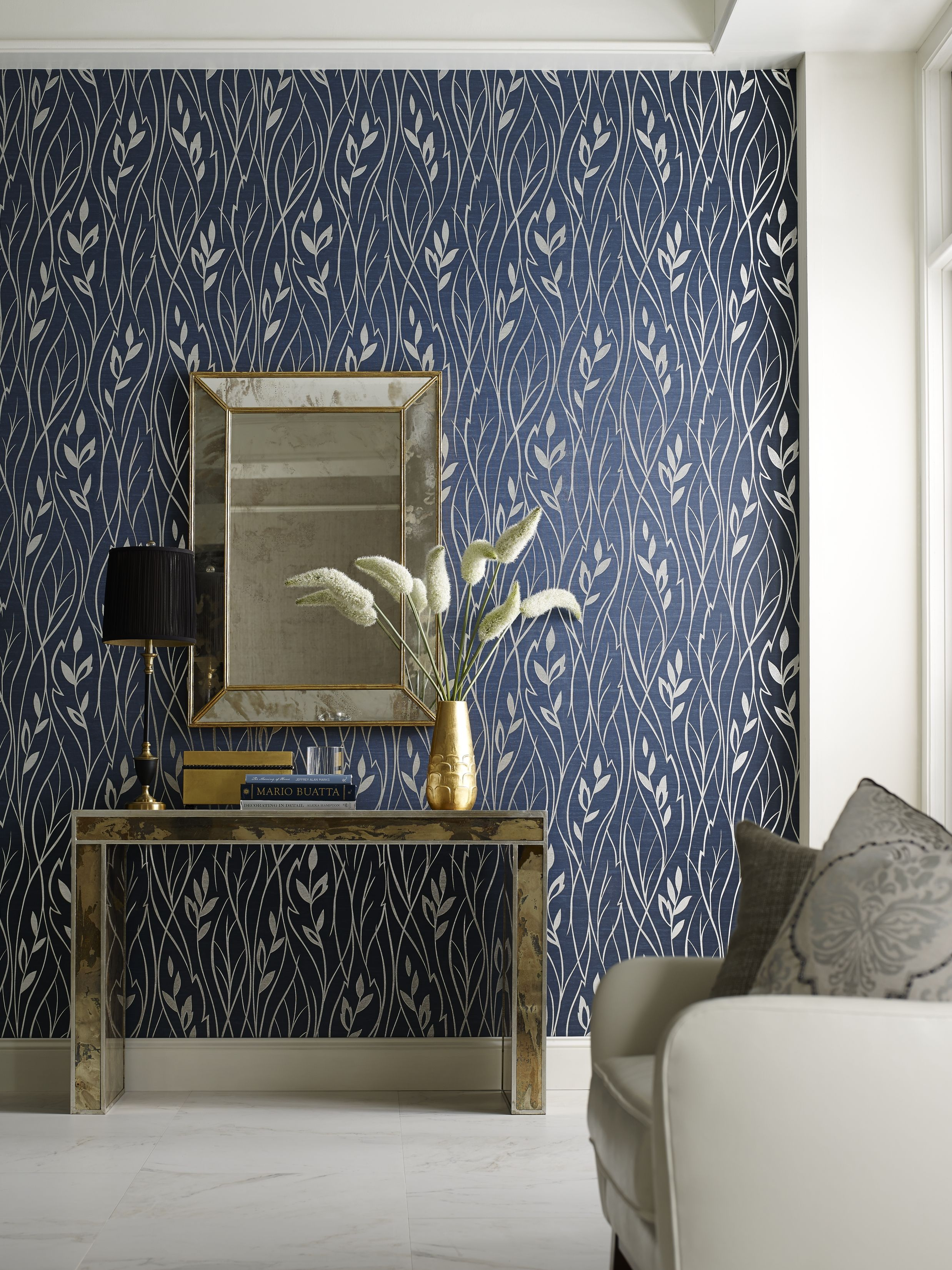 Step Up Leaf Silhouette Wall Coverings Textured Wallpaper