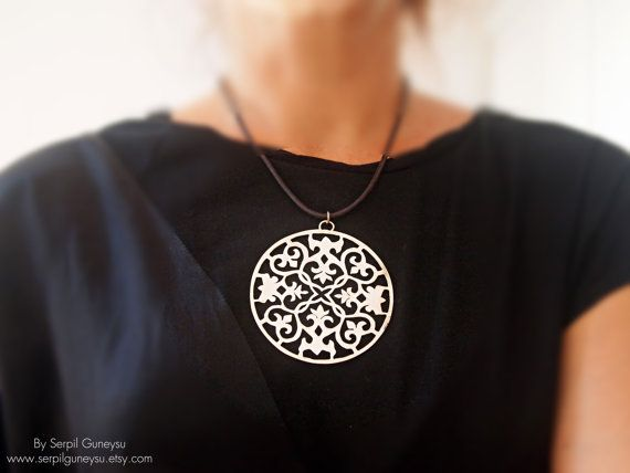 Big ornate pendant statement necklace hand cut sterling silver big ornate pendant statement necklace hand cut sterling silver big round aloadofball Image collections