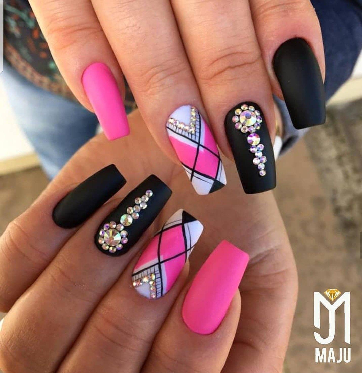 Pink And Black Nails Bling Nails Fashion Nails Pink Nails