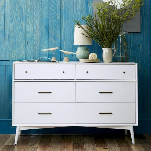 Inspiration For Malm Hack    MCM Legs Installed At A Slant With Knobs And  Pulls On Drawers Mid Century Dresser   White