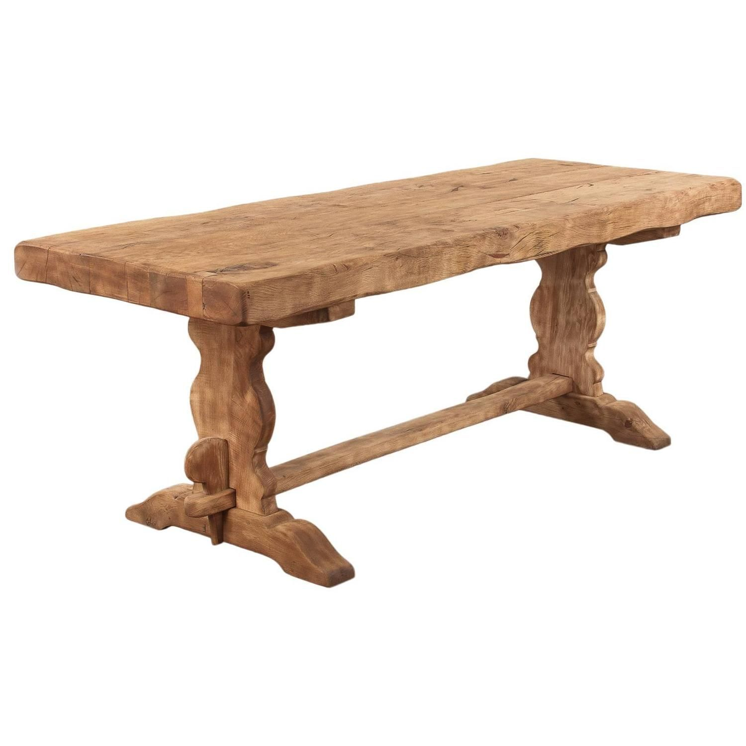 French Country Washed Oak Trestle Table, Early 1900s