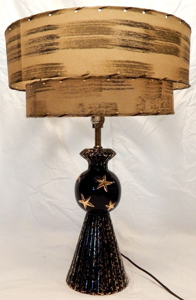 Vintage Mid Century 1950 S Atomic Table Lamp Black And Gold Black Table Lamps Mid Century Lamp Lamp