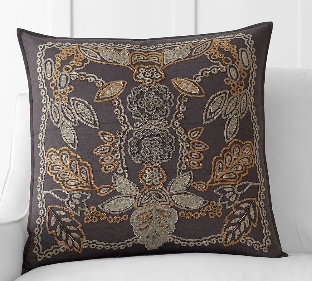 Lara Applique Embroidered Pillow Cover Pottery Barn for sectional