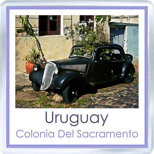$3.29 - Acrylic Fridge Magnet: Uruguay. El Coche Jardin. Colonia Del Sacramento