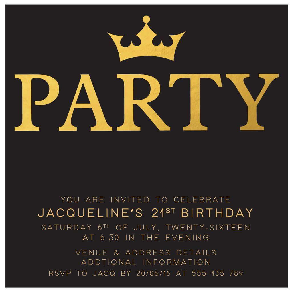 Gold Digital Printable Birthday Invitation Template 21st Birthday