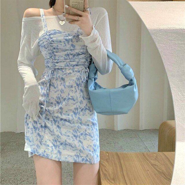 19.09US $ 40% OFF|French Elegant Mini Dress Women Chic Slim Slash Neck Long Sleeve Spaghetti Strap Floral Dress Korean 2021 Summer Women Clothing|Dresses|   - AliExpress