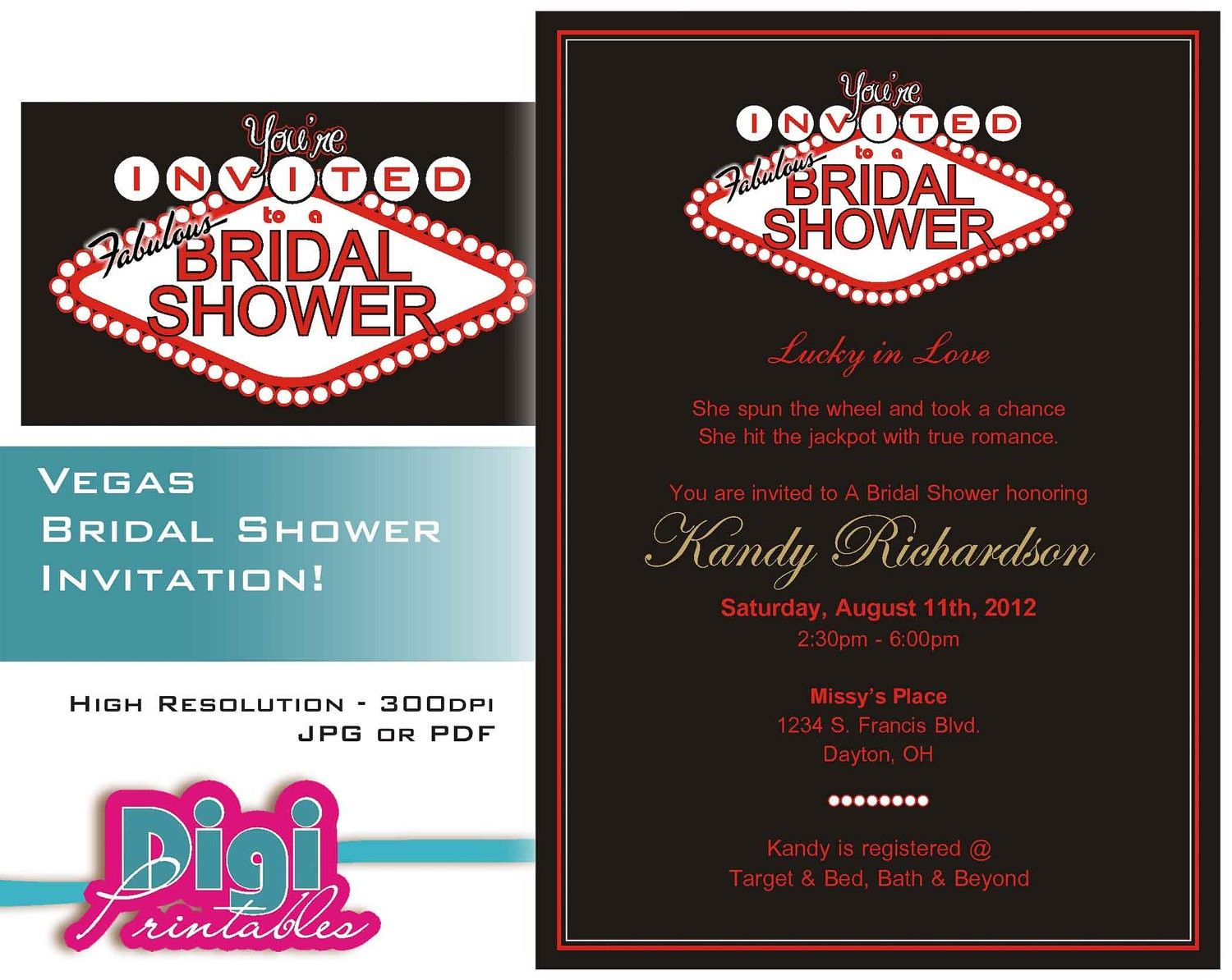 Las vegas themed wedding shower invitations maid of for Wedding invitations las vegas nv