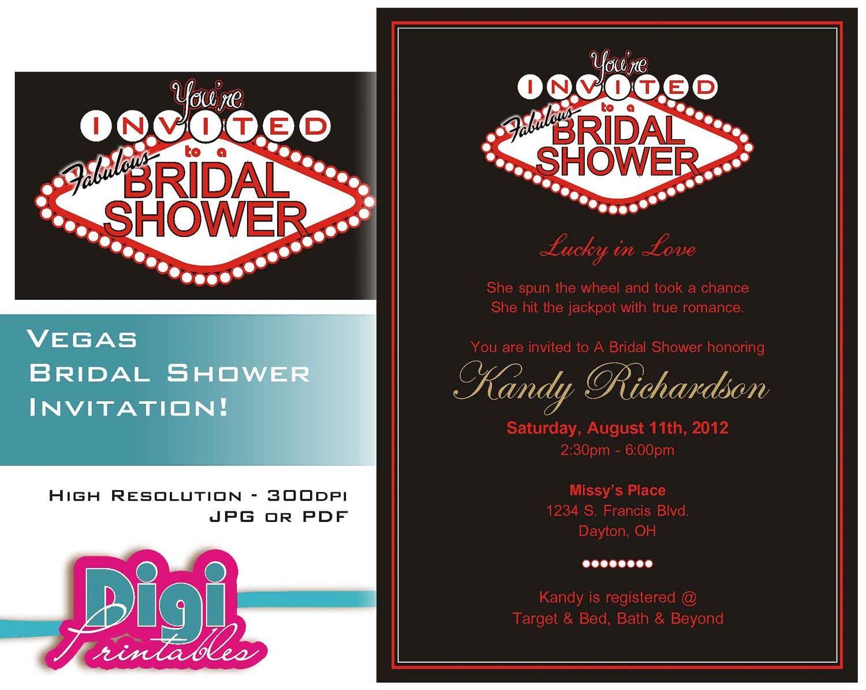 las vegas themed wedding shower invitations