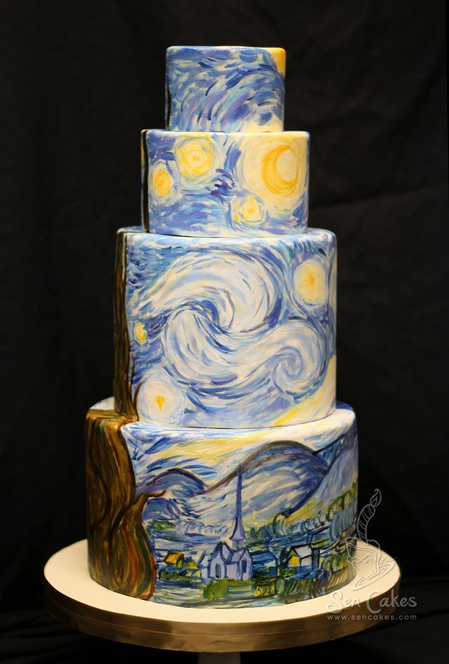 Starry Night Wedding Cake | Wedding cake, Cake and Art cakes