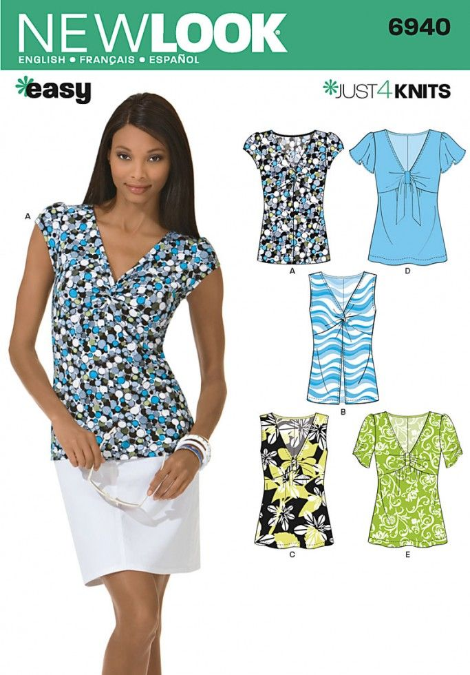 New Look Ladies Easy Sewing Pattern 6940 Tops with Front Detail ...