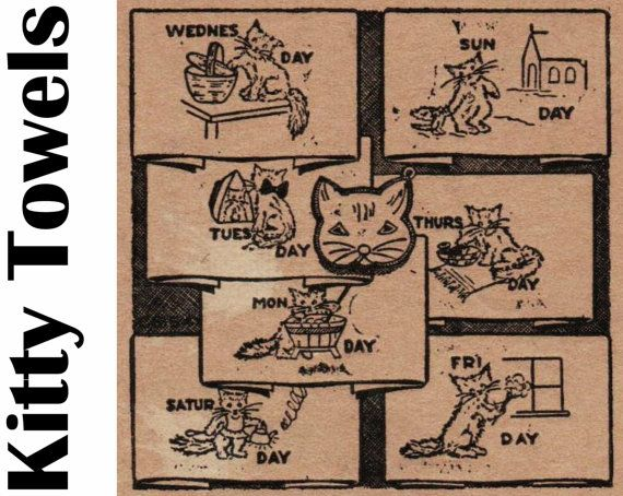 Cat Day of the Week Towels Embroidery Transfer PDF DIGITAL