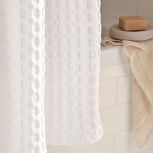 Waffle Grommet Shower Curtain White White Shower Curtain