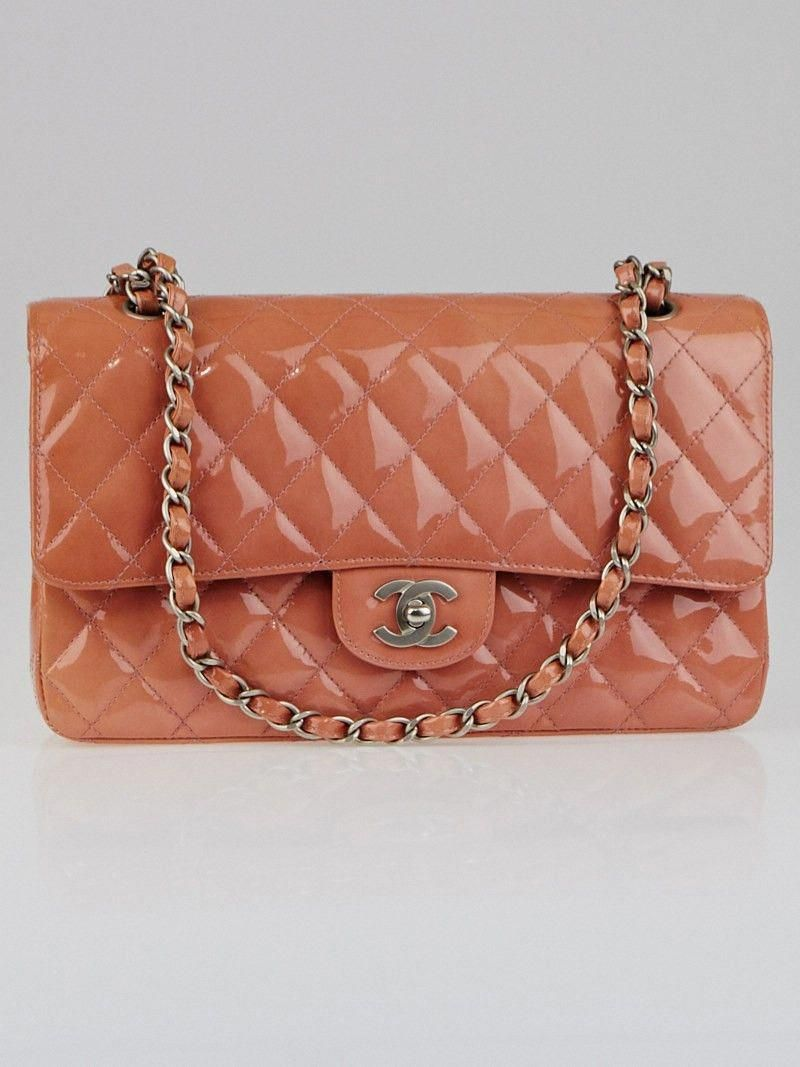 96bd595591742a Chanel Pink Quilted Patent Leather Classic Medium Double Flap Bag  #Chanelhandbags