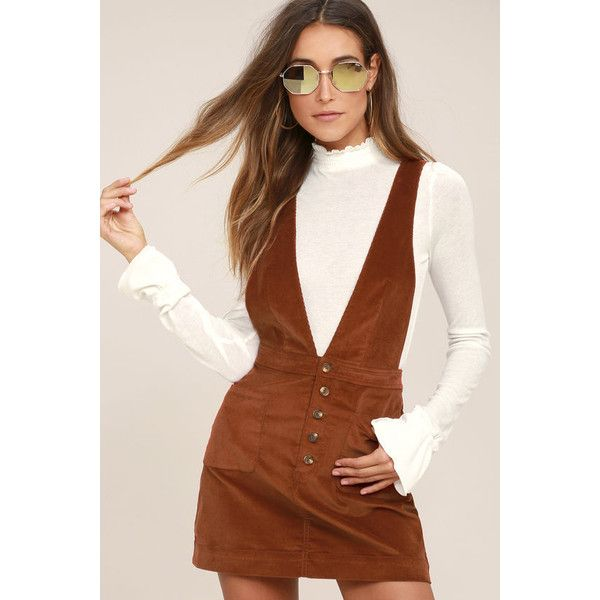 1838a11c303 Free People Old School Love Rust Orange Corduroy Pinafore Dress ( 68) ❤  liked on Polyvore featuring dresses