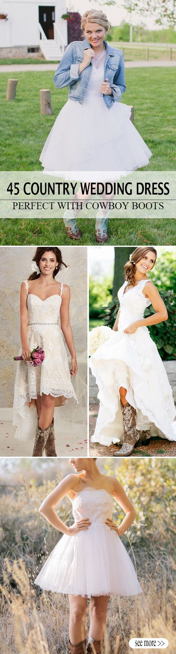 short country wedding dress perfect with cowboy boots short or