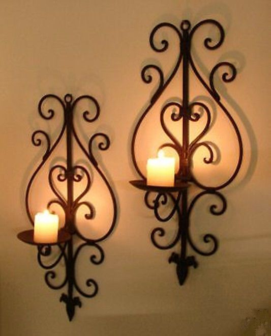 Pair Of Wrought Iron Wall Decor Candle Holders Wall Mounted