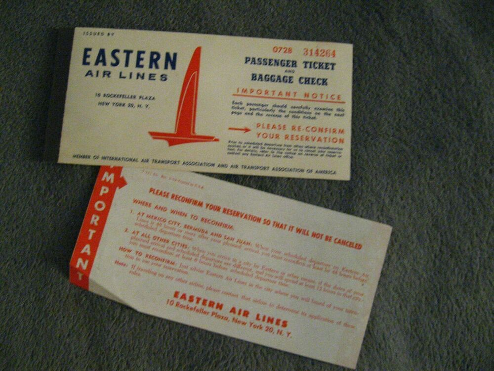 Details About Eastern Air Lines Passenger Ticket Vintage Ea 1959 Eal Airlines Travel Folder Passenger Tickets Airline Travel Passenger