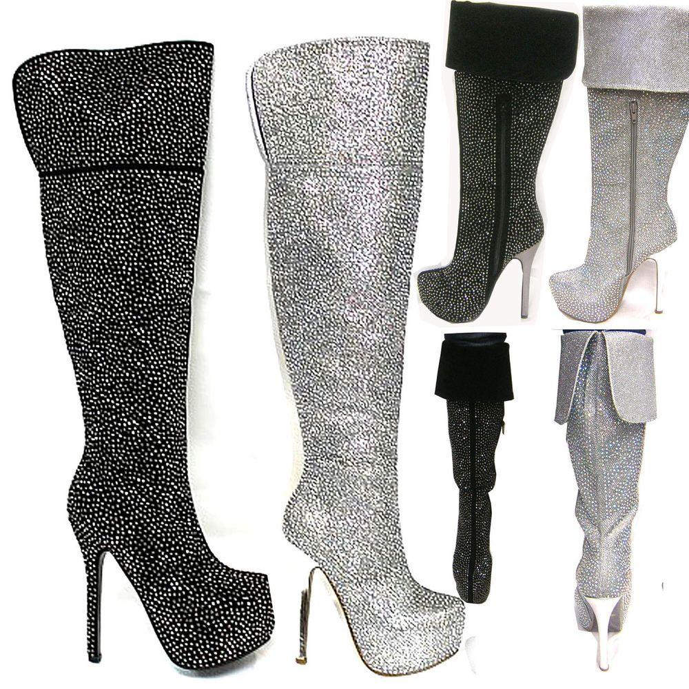 "Women's Sexy Rock Star Over-the-knee Rhinestone embellishment  5.5"" Heel boots #BellaLuna #Stilettos"