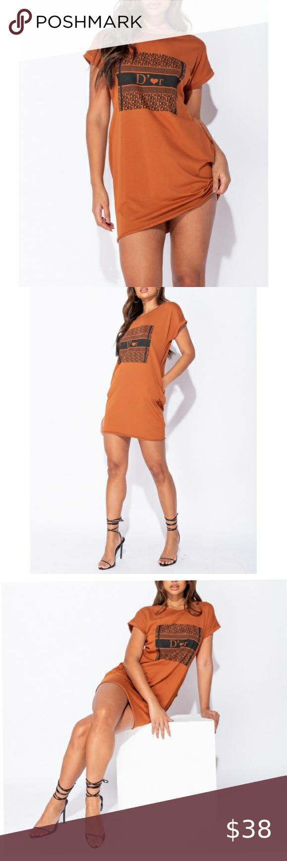 Rust D'Or Print T Shirt Dress Rust D'Or Print T Sh