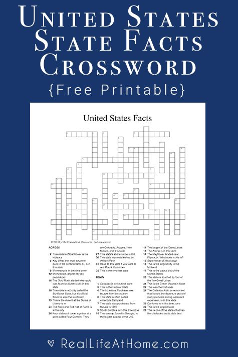 U S State Facts Crossword Puzzle Printable