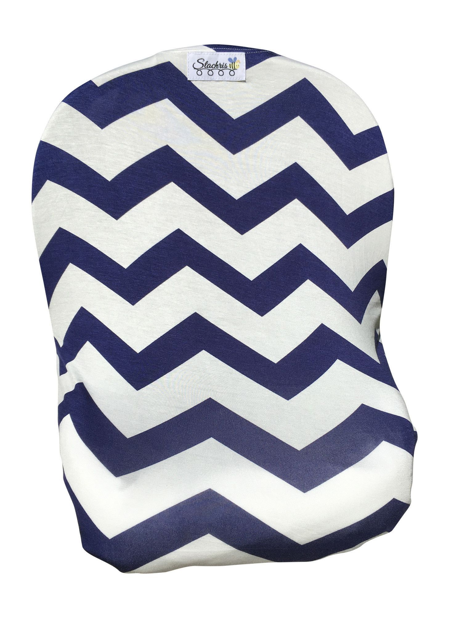 Blue Chevron Infant Baby Car Seat Cover, High Chair