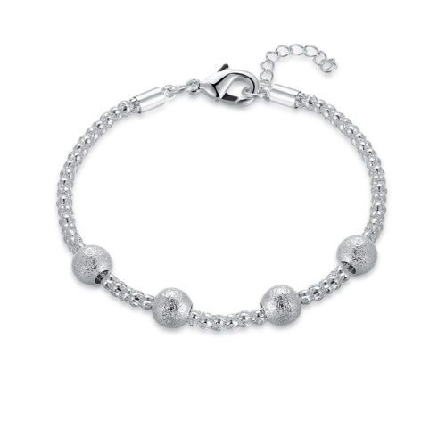 925 Silver Plated Cuff Bracelet Bangle Chain Wristband Women Fashion Jewelry New