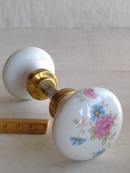 Doorknob フランスアンティークインテリア建具ドアノブ陶器製花模様390 雑貨 家具 Antique ¥4500yen 〆06月18日