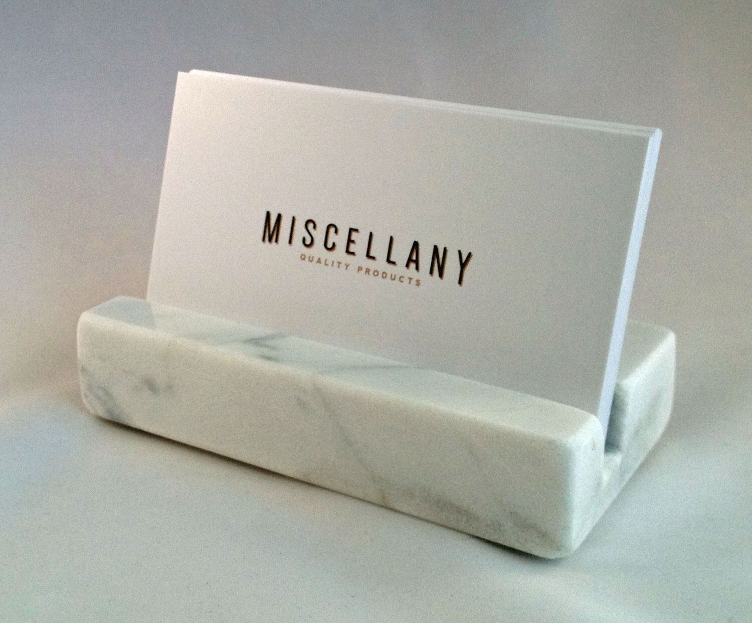 Business Card Holder - White Carrara Marble - Office Desk Home ...