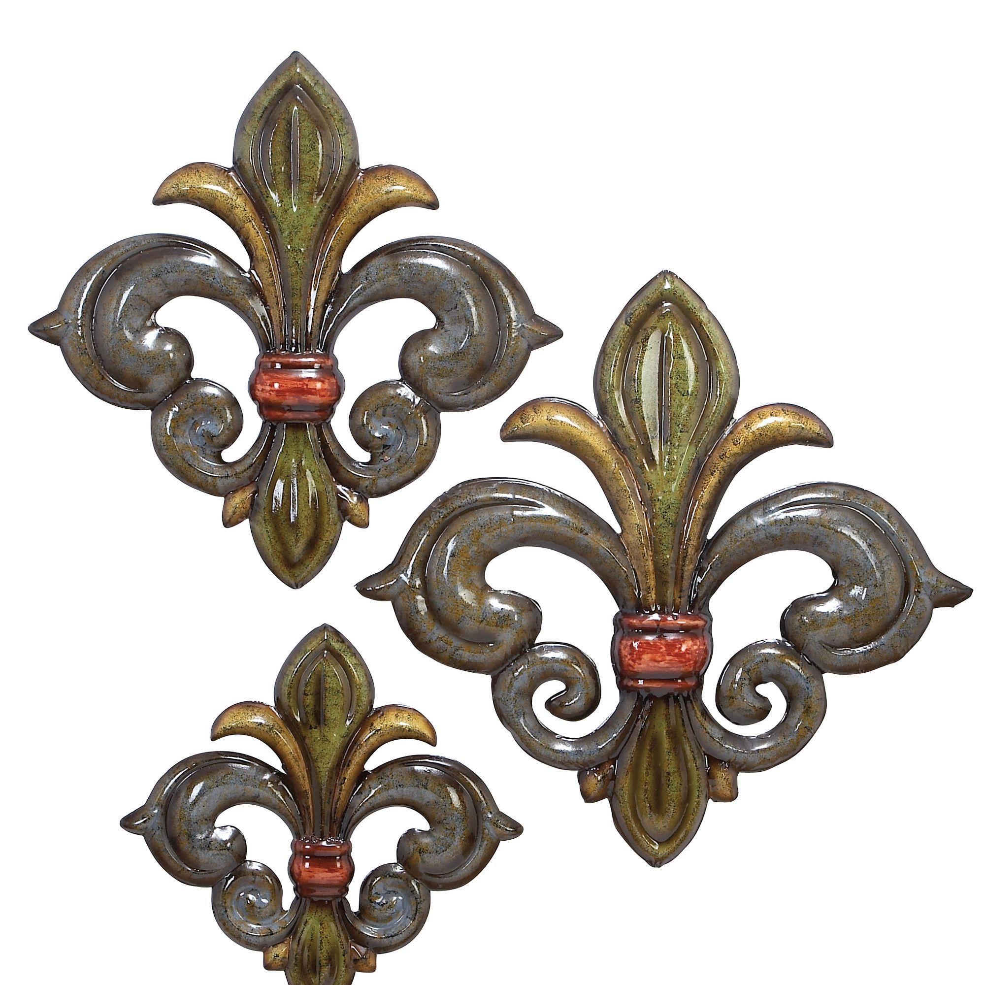 3 Piece Metal Fleur De Lis Wall Decor Set