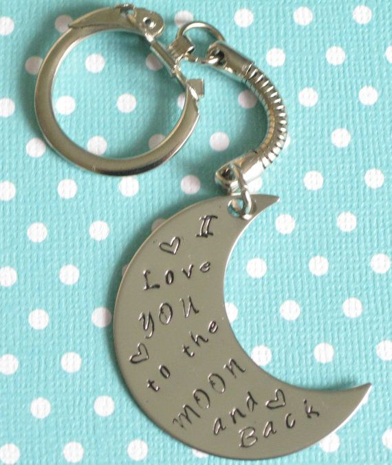 Half Moon Keychain I Love You to the Moon and by GirlCrewCreations