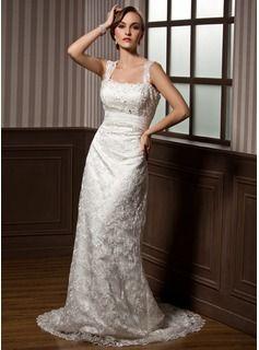 Wedding Dresses - $224.99 - Sheath/Column Sweetheart Watteau Train Chiffon Charmeuse Lace Wedding Dress With Ruffle Beadwork  http://www.dressfirst.com/Sheath-Column-Sweetheart-Watteau-Train-Chiffon-Charmeuse-Lace-Wedding-Dress-With-Ruffle-Beadwork-002012795-g12795