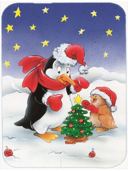 Penguin and Robin with Christmas Tree Mouse Pad, Hot Pad or Trivet AAH7203MP